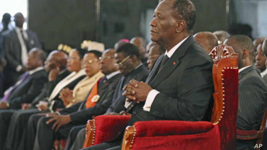 Ivory Coast President Alassane Ouattara attends a ceremony at the presidential palace in Abidjan, Ivory Coast, May 6, 2011