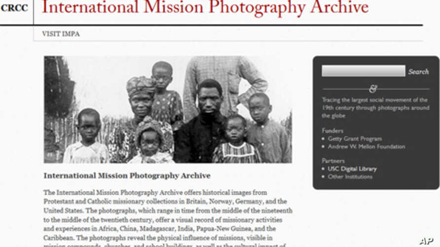 Screenshot of International Mission Photography Archive administered by the Center for Religion and Civic Culture and the Digital Library at the University of Southern California