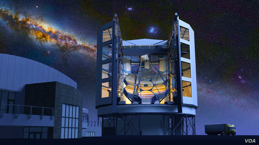 -Artist drawing of the Giant Magellan Telescope under a starry night sky (Giant Magellan Telescope)