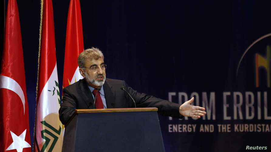 Turkish Energy Minister Taner Yildiz speaks during the first International Energy Arena in Arbil, about 350 kilometers north of Baghdad, Iraq, May 20, 2012.