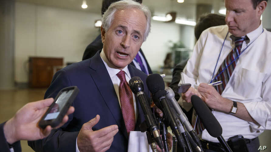 Senate Foreign Relations Committee Chairman Sen. Bob Corker, R-Tenn., answers questions following a closed-door security briefing on nuclear negotiations with Iran, at the Capitol in Washington, Feb. 10, 2015.