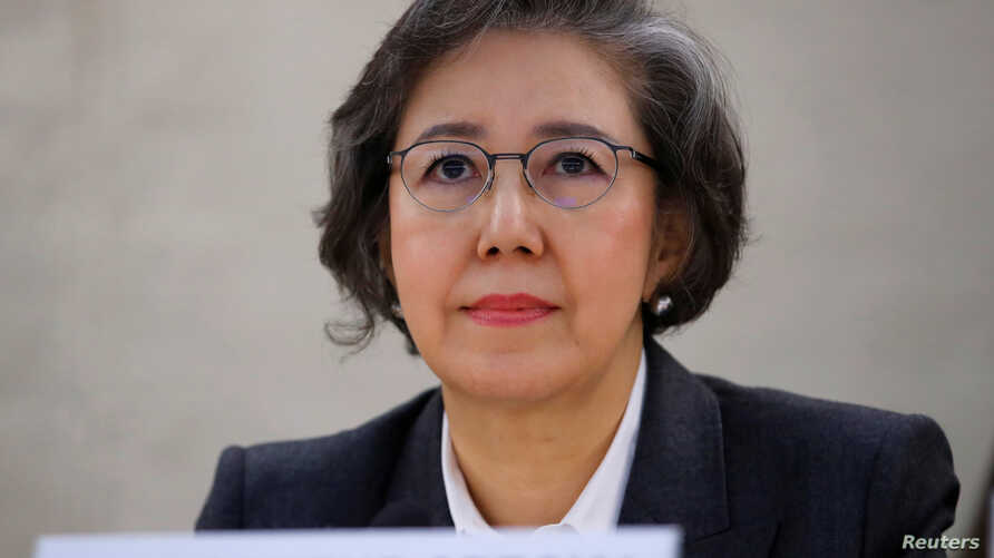 Special Rapporteur on the situation of human rights in Myanmar, Yanghee Lee gives her report to the Human Rights Council at the United Nations in Geneva, Switzerland, March 12, 2018.