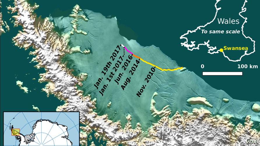 The current location of the rift on Larsen C, as of January 19 2017.