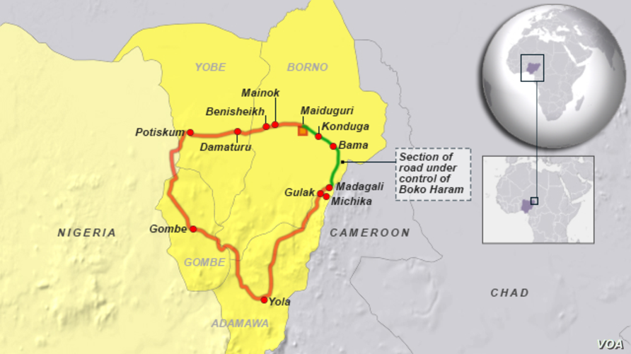 Section of road controlled by Boko Haram, in northeastern Nigeria