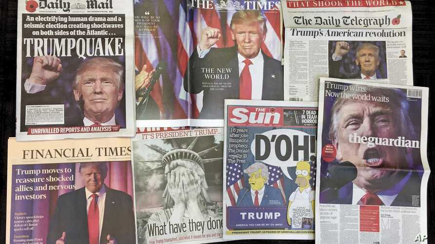 A montage of British newspaper front pages reporting on President-elect Donald Trump winning the American election are displayed in London, Nov. 10, 2016.