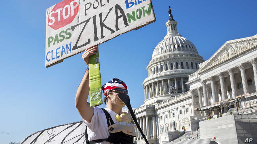 Wearing a homemade mosquito costume, an expectant father from Washington who asked not to be named, protests the lack of Congressional approval to fund a federal response to the Zika virus, Sept. 14, 2016, on Capitol Hill in Washington.