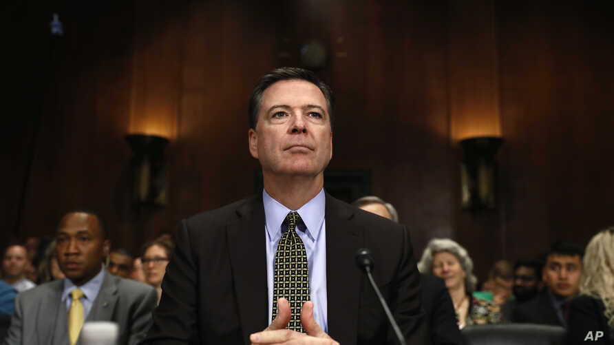 """FBI Director James Comey prepares to testify on Capitol Hill in Washington, May 3, 2017, before the Senate Judiciary Committee hearing: """"Oversight of the Federal Bureau of Investigation."""""""