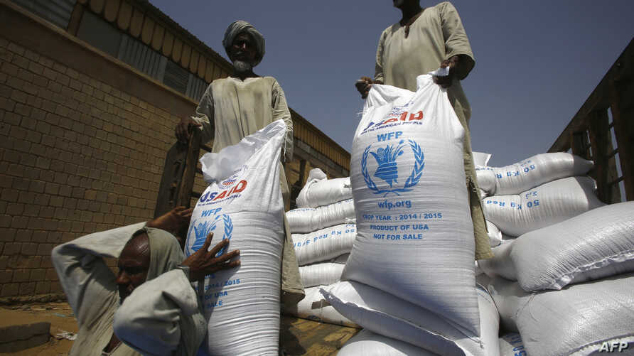 FILE - Sacs of sorghum are stored following the delivery of nearly 50,000 tonnes of US food aid bound for areas of Sudan affected by conflict, on May 26, 2015. in Port Sudan. T
