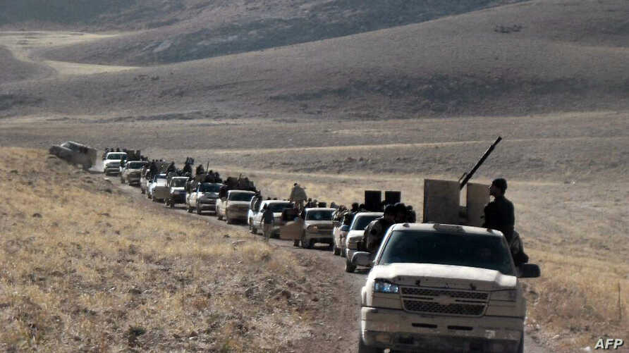 Fighters led by the al-Qaeda-linked al-Nusra Front gather on the Syrian side of the Qalamun hills close to the Lebanese borders on Sept. 22, 2014.