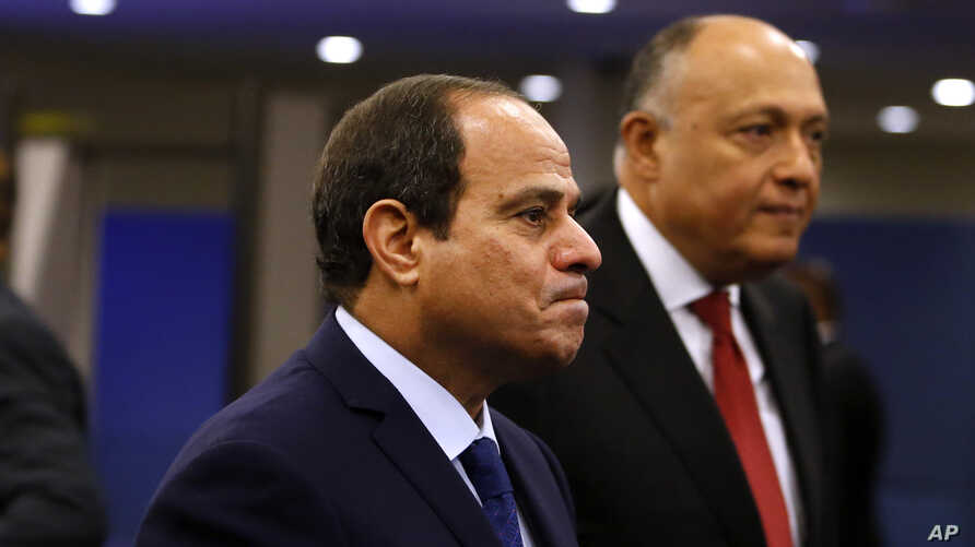 FILE - Egypt's President Abdel Fattah el-Sissi arrives for the 70th session of the United Nations General Assembly at U.N. headquarters.