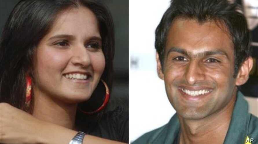 In this combination of two file photos, Indian tennis player Sania Mirza at a press conference in Hyderabad, India, Feb. 4, 2008, left, and Pakistani cricket captain Shoaib Malik at a press conference in Karachi, Pakistan on Jan. 19, 2009, are shown.