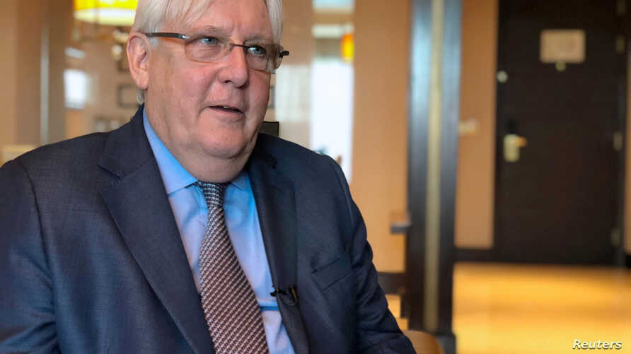 FILE PHOTO: United Nations Special Envoy to Yemen Martin Griffiths speaks during an interview with Reuters in Abu Dhabi, UAE, Oct. 4, 2018.
