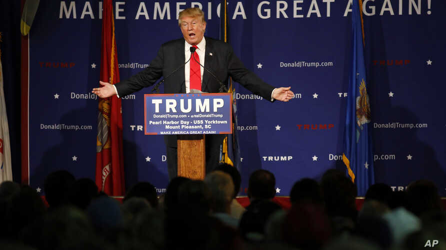 Republican presidential candidate, businessman Donald Trump speaks at a rally aboard the aircraft carrier USS Yorktown in Mt. Pleasant, S.C., Dec. 7, 2015. He defended his plan to stop Muslims from entering the country, Dec. 8, 2015.