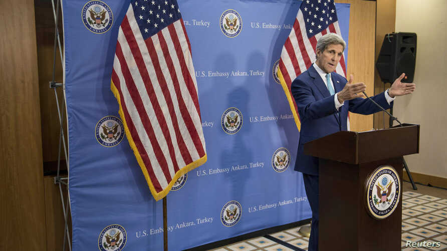 U.S. Secretary of State John Kerry speaks during a news conference in Ankara, Sept. 12, 2014.