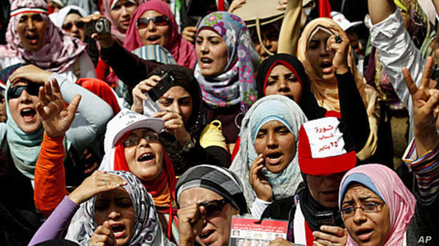 Egyptian women demonstrate in Cairo's Tahrir Square, Feb. 2011 (file photo).