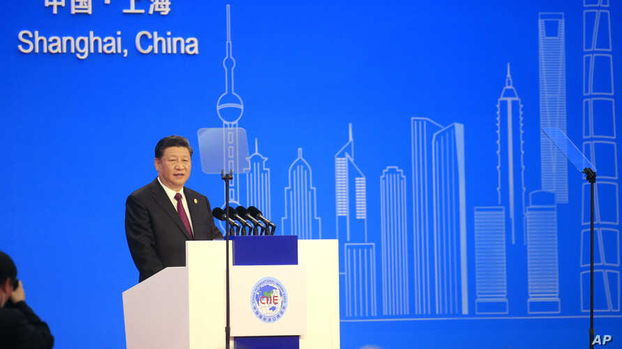 Chinese President Xi Jinping speaks at the opening ceremony for the China International Import Expo in Shanghai, Nov. 5, 2018.