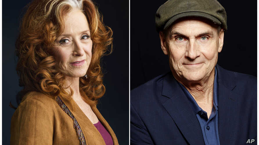 FILE - In this combination photo, singer Bonnie Raitt, left, appears in New York, March 7, 2016 and singer James Taylor poses in New York , May 13, 2015.