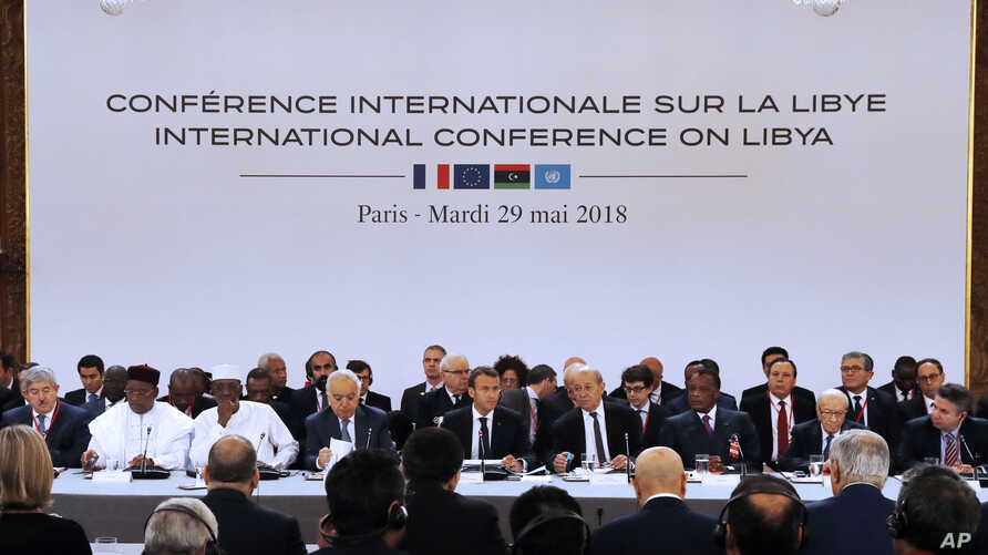 French President Emmanuel Macron holds an International Conference on Libya at the Elysee Palace in Paris, May 29, 2018.