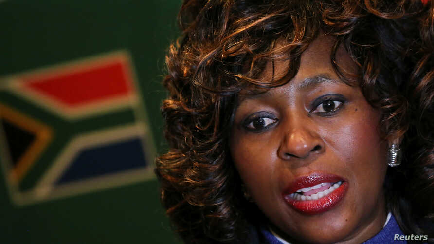 FILE - Makhosi Khoza gestures during an interview with Reuters in Johannesburg, South Africa, July 18,2017.