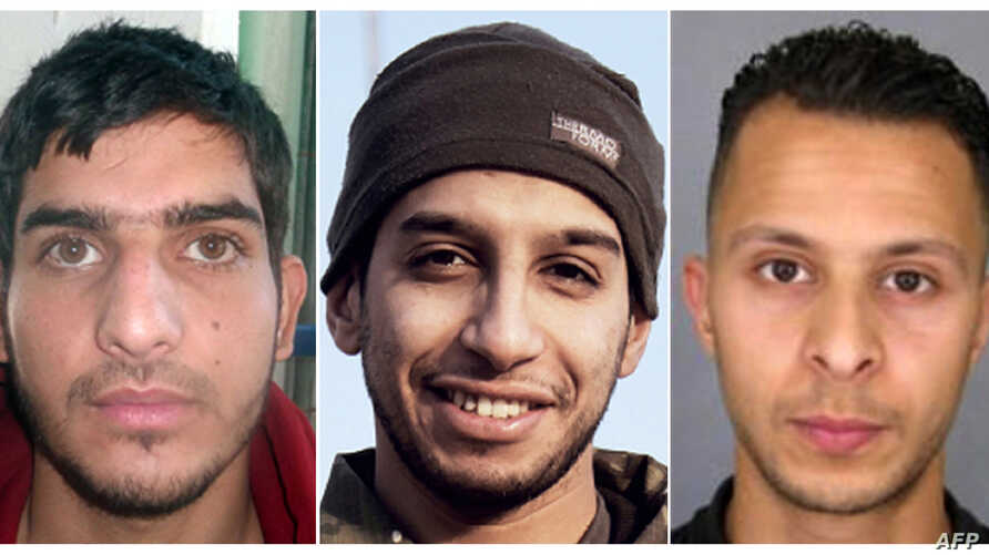 This combination of photos shows Abdelhamid Abaaoud, suspected mastermind of the November 13, 2015, Paris attacks, on the left, and suspect Salah Abdeslam, who remains at large. (2nd R),