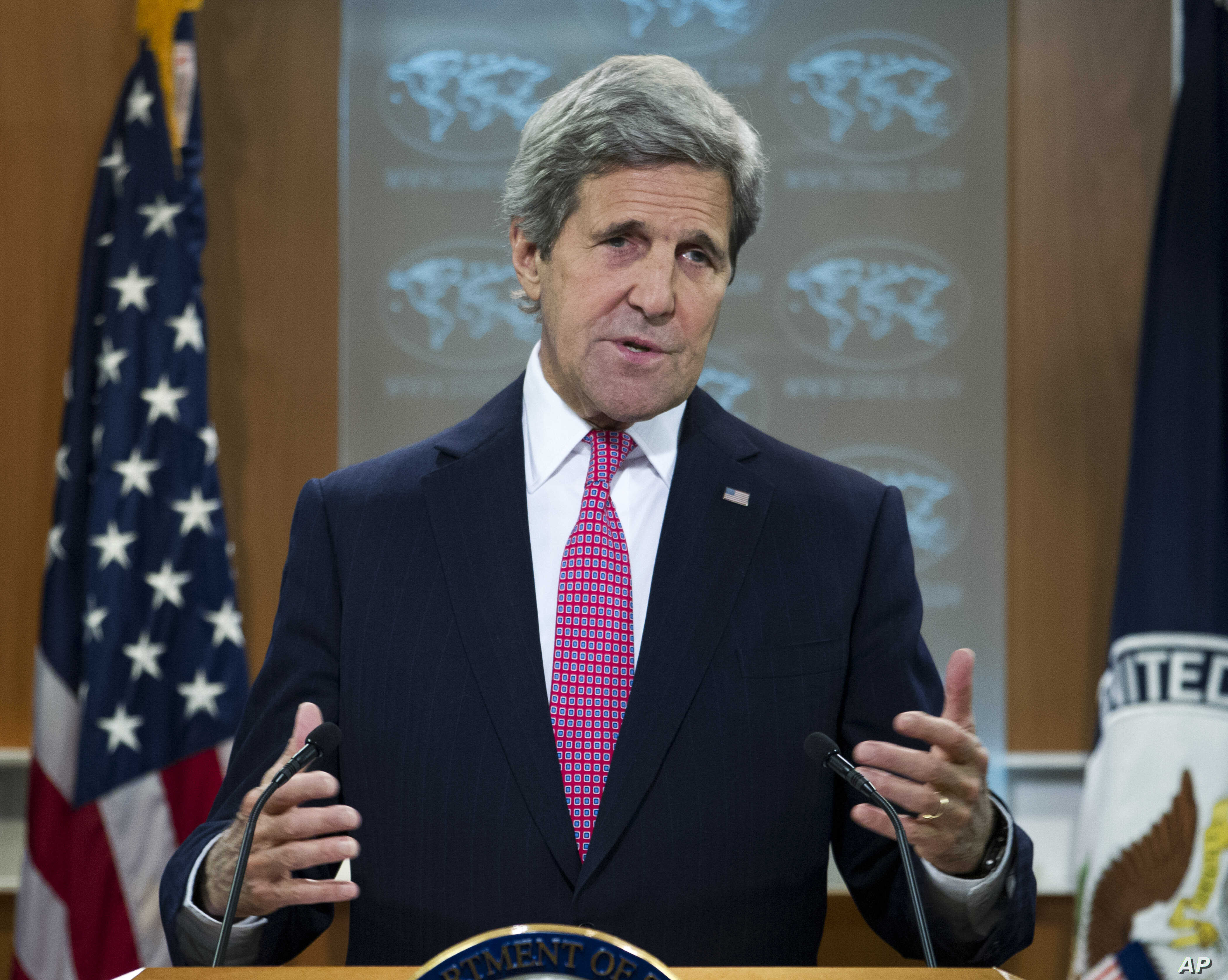 Secretary of State FILE - John Kerry presents the 2015 Country Reports on Human Rights Practices, at the State Department in Washington.