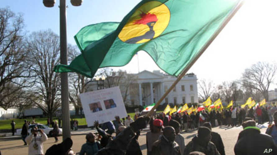 A Congolese protester waves a flag of the former Zaire in front of the White House Saturday, December 10, 2011, denouncing recent election results in the Democratic Republic of Congo.