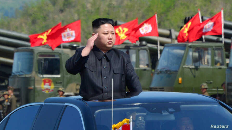 FILE - North Korea's leader Kim Jong Un inspects artillery launchers ahead of a military drill marking the 85th anniversary of the establishment of the Korean People's Army (KPA), April 25, 2017.
