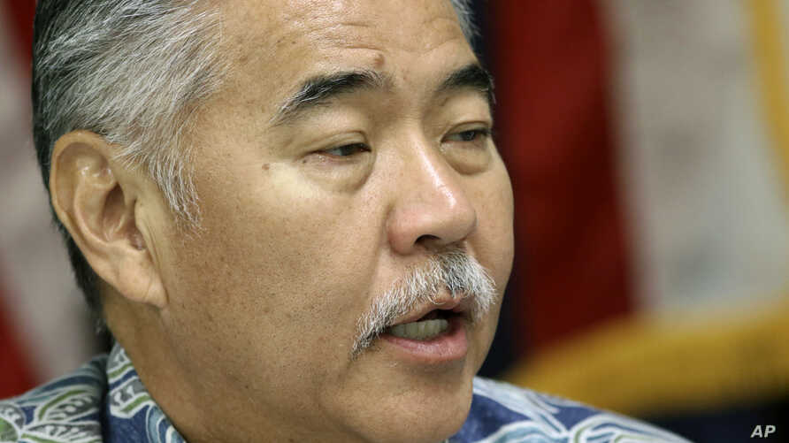 Hawaii Gov. David Ige speaks during a news conference about the state's mistaken missile alert, Jan. 30, 2018, in Honolulu. Hawaii's emergency management leader has resigned and a state employee who sent an alert falsely warning of an incoming ballis