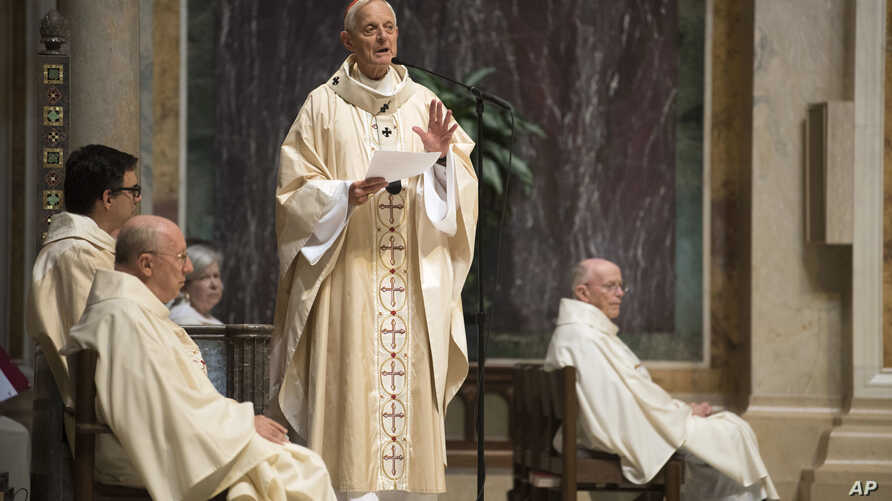 Cardinal Donald Wuerl, Archbishop of Washington, speaks before Mass at St. Mathews Cathedral, Aug. 15, 2018, in Washington. A Pennsylvania state grand jury report that was released on Tuesday, accused senior church officials, including Wuerl, of syst