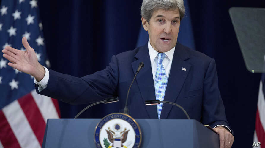 Secretary of State John Kerry speaks at the State Department in Washington, Dec. 28, 2016. Stepping into a raging diplomatic argument, Kerry staunchly defended the Obama administration's decision to allow the U.N. Security Council to declare Israeli
