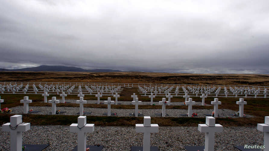 FILE - Darwin cemetery, where Argentine soldiers who died during the Falklands War were buried, is seen in the Falkland Islands, March 11, 2012.
