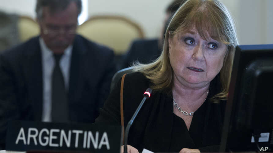 FILE - Argentina's Foreign Minister Susana Malcorra speaks at the Permanent Council of the Organization of American States in Washington, April 3, 2017.