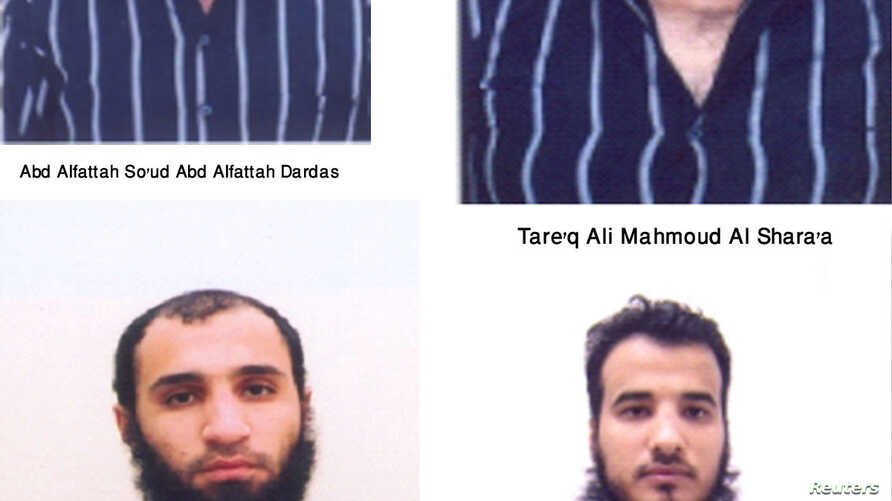 Pictures of Abd Alfattah So'ud Abd Alfattah Dardas, Tareq Ali Mahmoud Al Shara'a, two of 11 suspects detained by security forces, are seen in this handout photo, October 21, 2012.