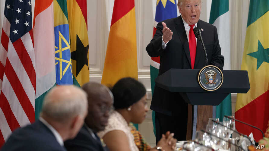 President Donald Trump speaks during a luncheon with African leaders at the Palace Hotel during the United Nations General Assembly in New York, Sept. 20, 2017.