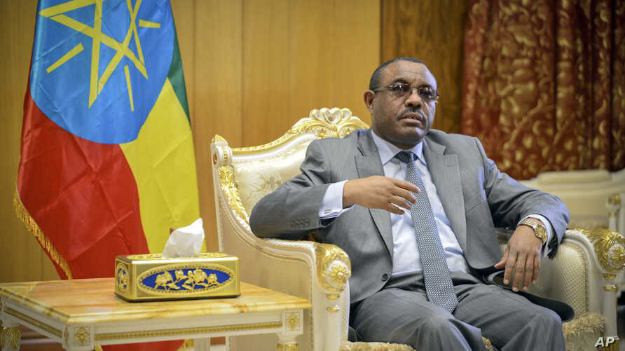 FILE - Ethiopia's Prime Minister Hailemariam Desalegn is seen in his office in the capital Addis Ababa, Ethiopia, March 17, 2016. Announcing the cabinet reshuffle, Desalegn said the new ministers were picked for competence and commitment rather than