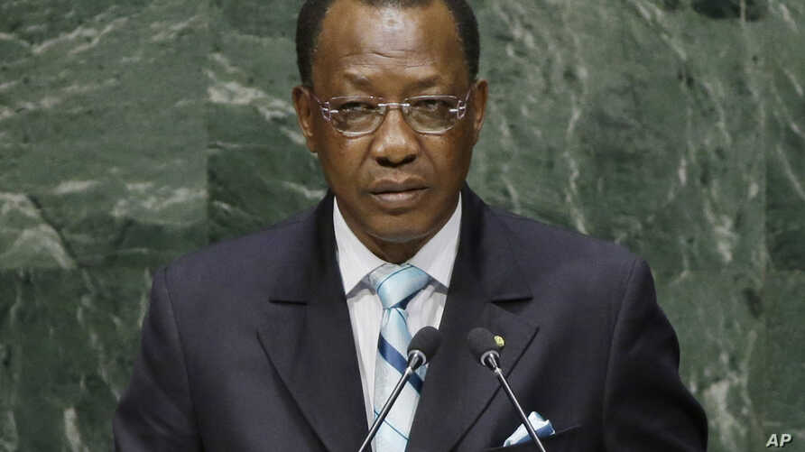"""FILE - Chad's President Idriss Deby, shown addressing the U.N. General Assembly in September 2014, says his country need not """"remain in a system where changing leaders becomes difficult."""""""