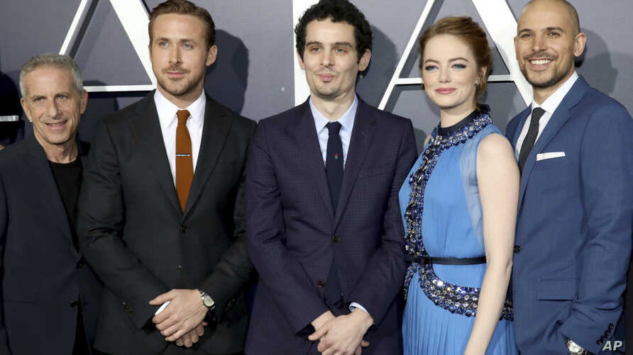 """Producer Marc Platt, Ryan Gosling, Writer/Director Damien Chazelle, Emma Stone and Producer Fred Berger seen at Summit Entertainment, a Lionsgate Company, Presents the Los Angeles Premiere of """"La La Land"""" at Village Theater on Dec. 6, 2016, in Los An"""