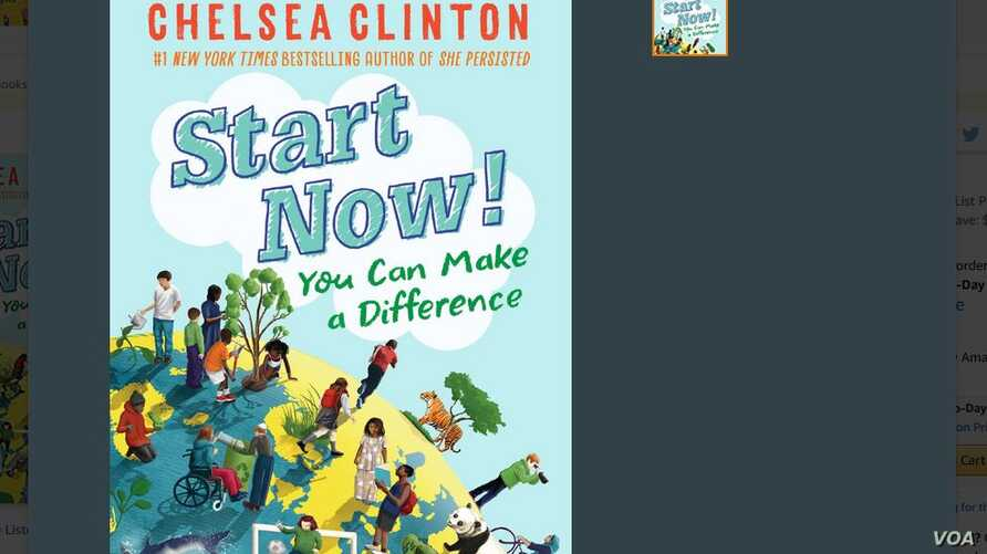 """A screenshot from Amazon website of Chelsea Clinton's new book, """"Start Now! You Can Make a Difference,"""" released this week. (Courtesy image)"""
