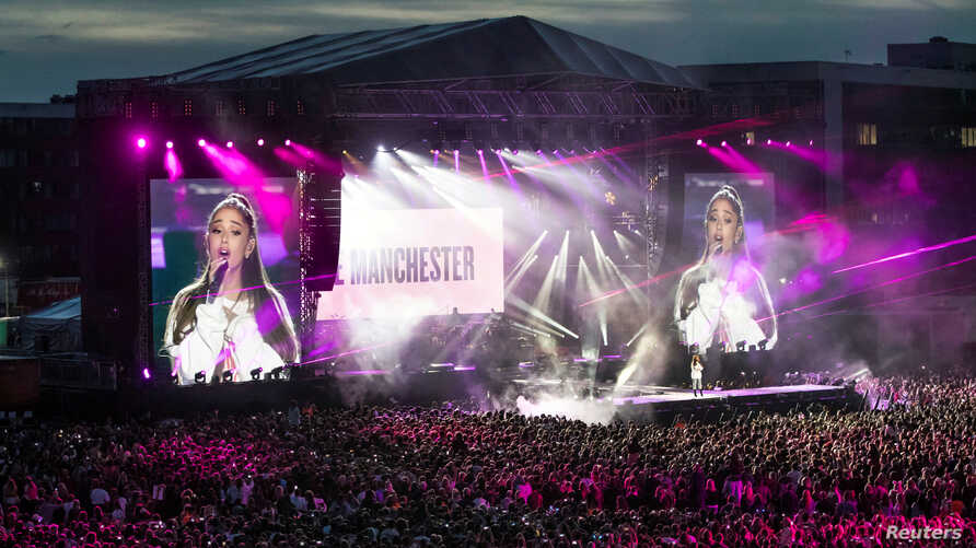 Ariana Grande performs during the One Love Manchester benefit concert for the victims of the Manchester Arena terror attack at Emirates Old Trafford, Greater Manchester, Britain, June 4, 2017.