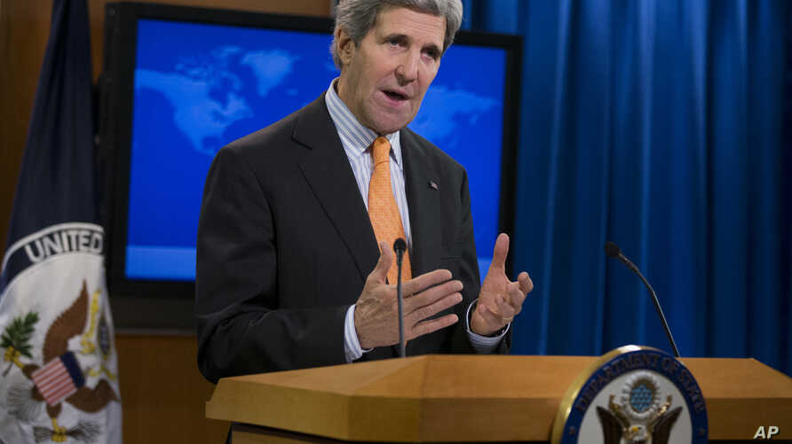U.S. Secretary of State John Kerry talks about Syria at the State Department in Washington, Jan. 16, 2014.