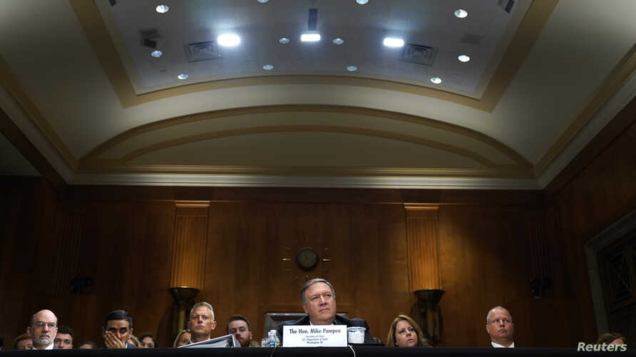 U.S. Secretary of State Mike Pompeo testifies at a Senate Foreign Relations Committee hearing on Capitol Hill in Washington, May 24, 2018.