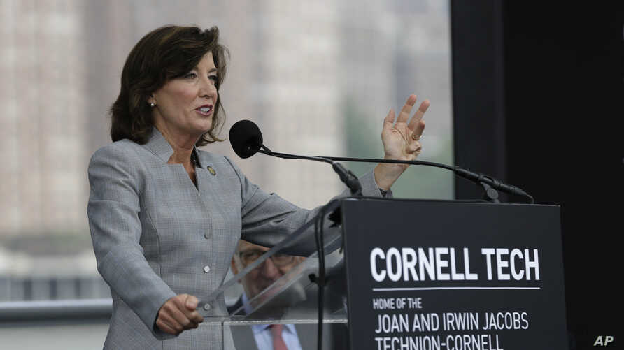 NYC New York State Lieutenant Governor Kathy Hochul speaks during a ceremonial ground breaking at Cornell Tech campus on Roosevelt Island in New York, June 16, 2015. The school will accommodate up to 2,000 graduate students.