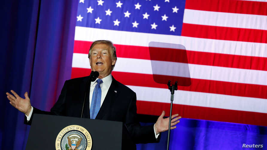 U.S. President Donald Trump delivers remarks at the state fairgrounds in Indianapolis, Indiana, Sept. 27, 2017.