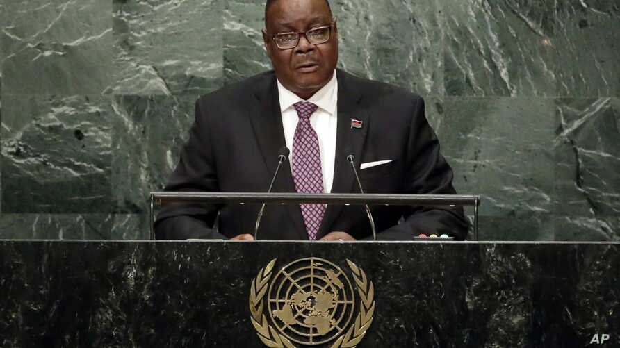 FILE - Malawi President Peter Mutharika addresses the 71st session of the United Nations General Assembly, at U.N. headquarters, in New York, Sept. 20, 2016.