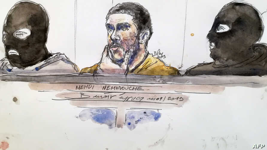 A court sketch made on Jan. 10, 2019 shows Mehdi Nemmouche,center, accused of the terrorist attack at the Jewish Museum in Brussels in 2014, during his trial at the Brussels Justice Palace.