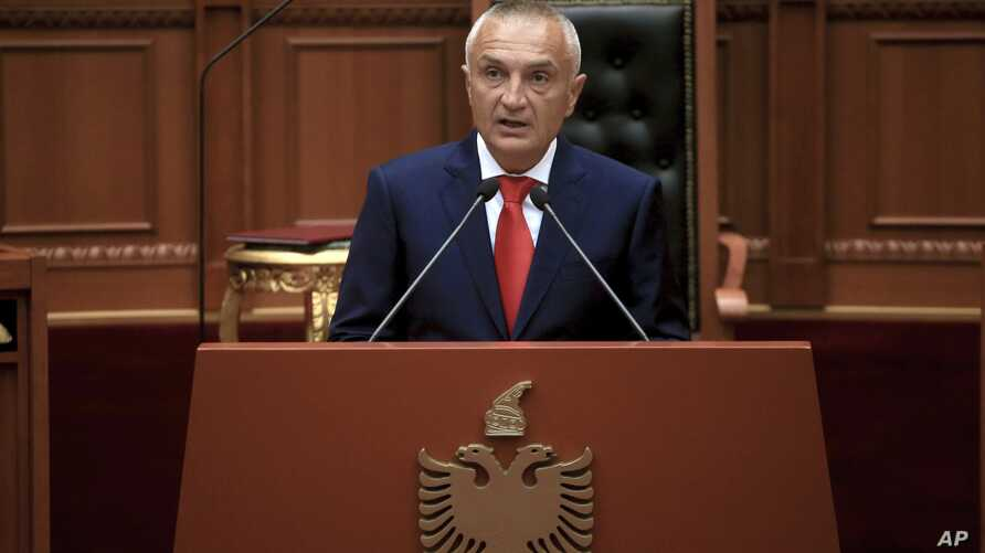 Albania's new President Ilir Meta delivers a speech during his swearing in ceremony at the Parliament in Tirana, July 24, 2017.