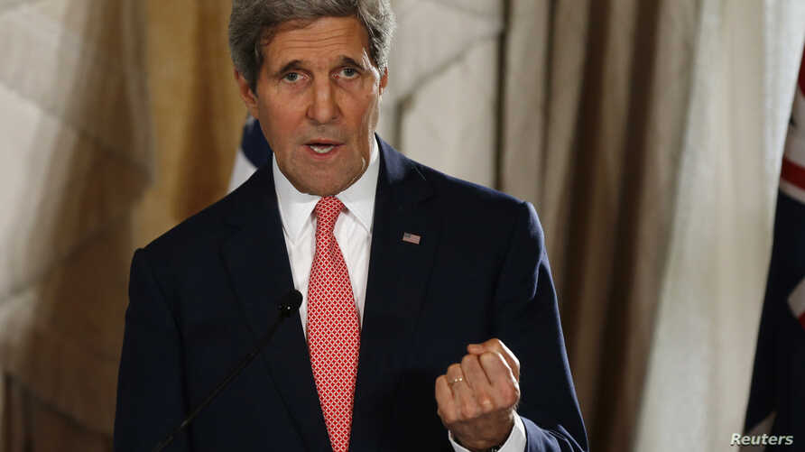 U.S. Secretary of State John Kerry speaks at a news conference at the conclusion of the AUSMIN meeting at Admiralty House in Sydney, Aug. 12, 2014.