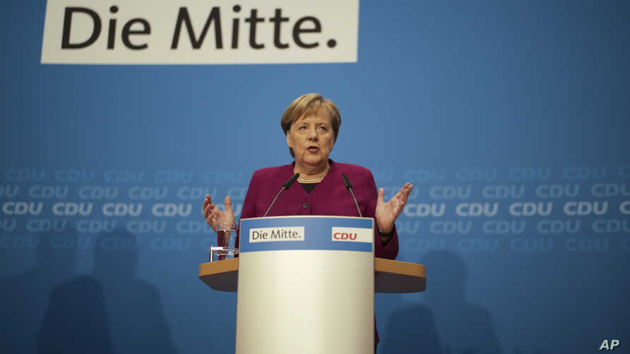 German Christian Democratic Party, CDU, chairwoman and Chancellor Angela Merkel addresses a news conference after a party's leaders meeting at the headquarters in Berlin, Germany, Oct. 29, 2018.
