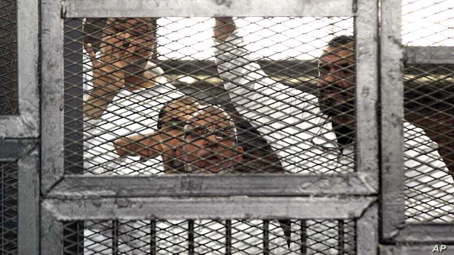 Leader of Egypt's Muslim Brotherhood Mohammed Badie, bottom center, and senior Brotherhood figurer Salah Soltan, right, gesture, during an appearance at a courtroom in Cairo, April 1, 2014.