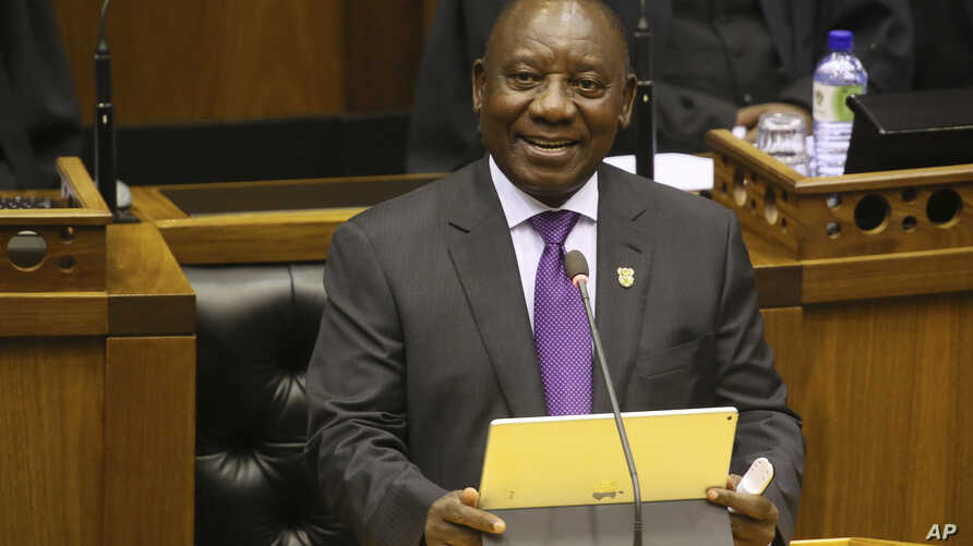 South Africa's new President, Cyril Ramaphosa, delivers his State of the Nation address in parliament in Cape Town, South Africa,  Feb. 16, 2018.